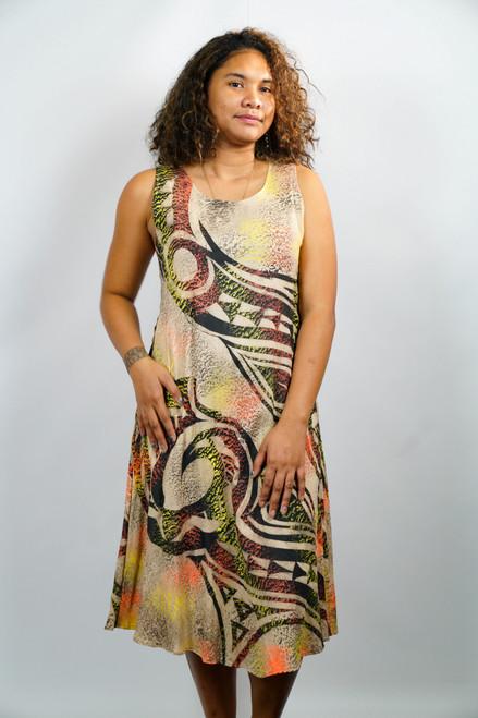 Samoan Dress SLEEVELESS ALINE LONG - SZ 12