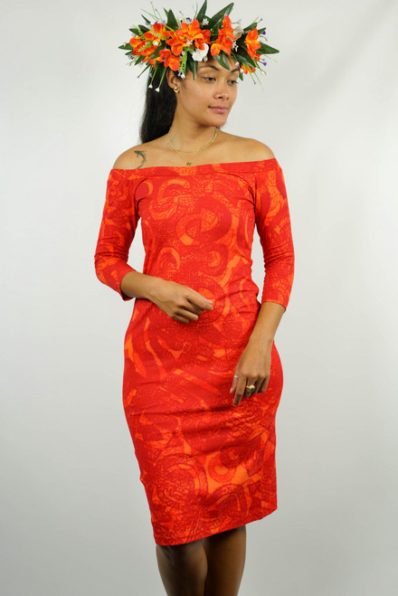 LYDIA DRESS D67B2-3/4 ORANGE1 SIZE 12 TAV945