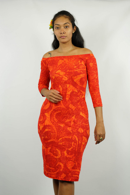 LYDIA DRESS D67B2-3/4 ORANGE2 SIZE 12 TAV946