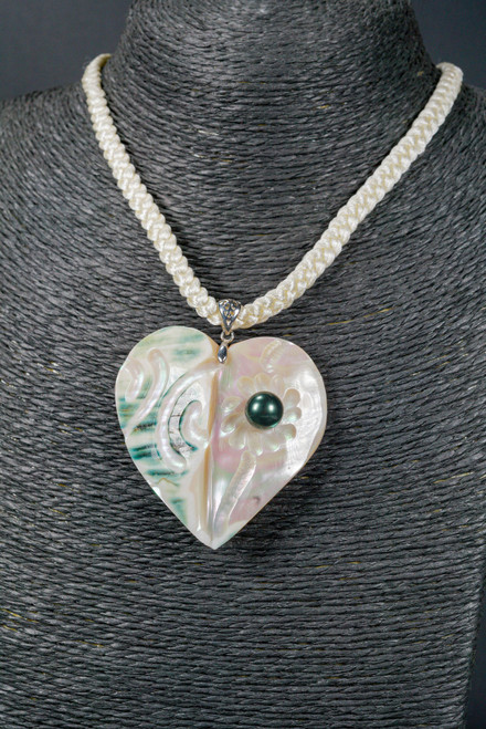 WEBJN73 MOP SHELL LOVE WITH PEARL NECKLACE