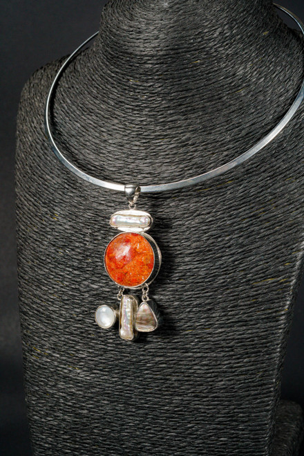 WEBJN141 RED CORAL WITH FWP PENDANT