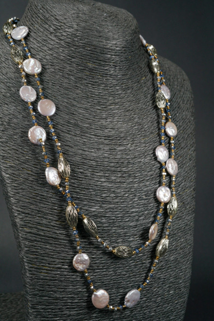 """WEBJP102 COIN PEARL NECK 44"""""""
