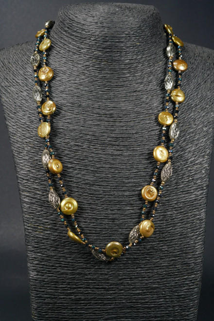 """WEBJP103 GLD COIN PEARL NECK 44"""""""