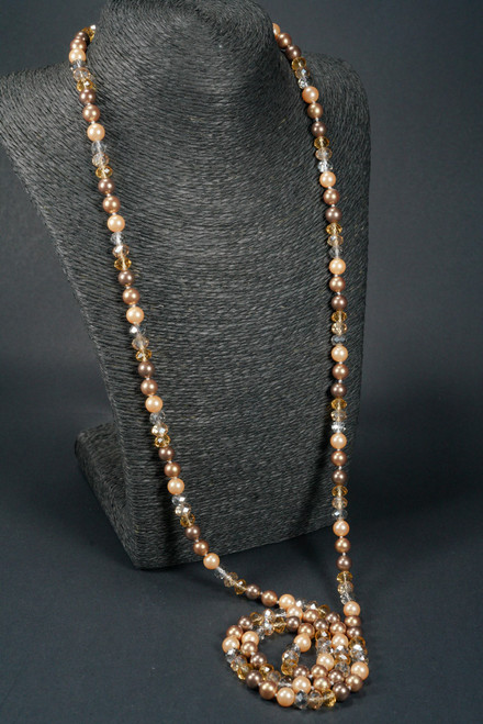 """WEBJP151 GLD PEARL STRAND NECKLACE 64"""""""