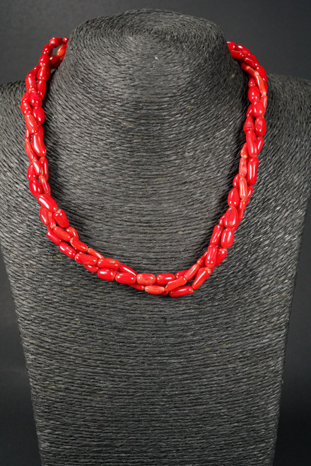 WEBJC02 RED CORAL TWIST NECKLACE