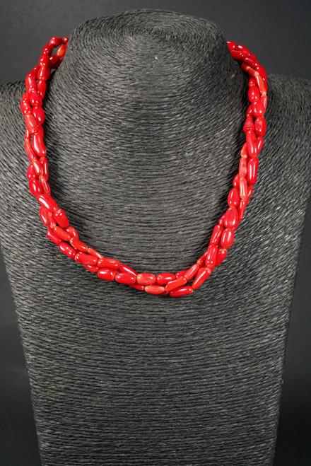 WEBJC02 RED CORAL TWIST NECKLACE