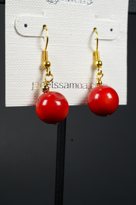 WEBJEB01 RED CORAL EARRING