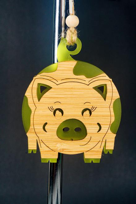 BAUBLE ORNAMENT PIGGY GRN