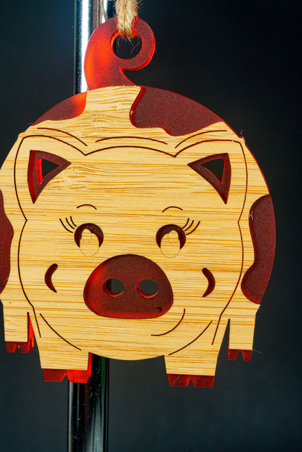BAUBLE ORNAMENT PIGGY RED