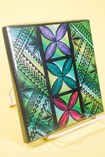 SAMOAN ART S GREEN TAPA