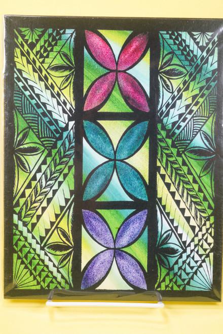 SAMOAN ART M REC GREEN TAPA