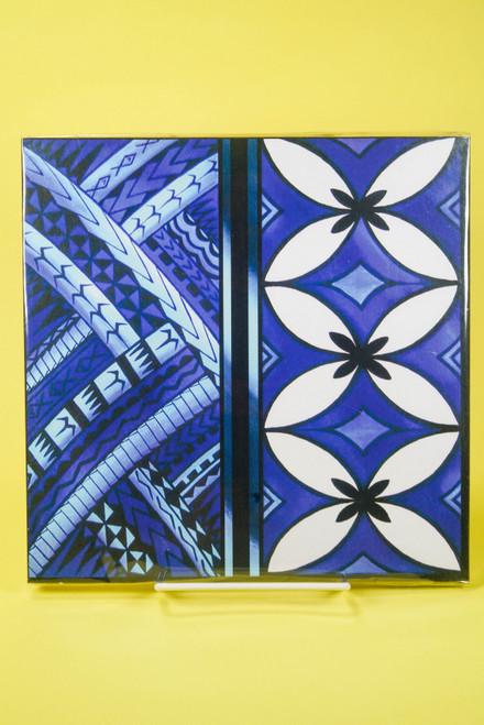 SAMOAN ART M BLUE TAPA