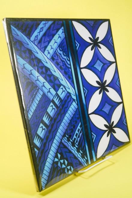 SAMOAN ART L BLUE TAPA
