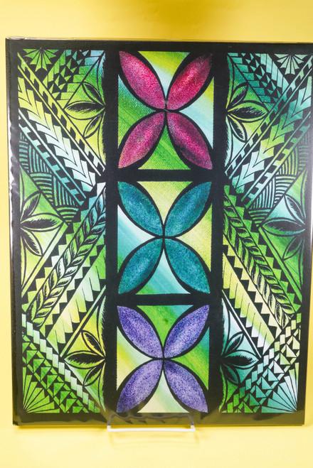 SAMOAN ART L REC GREEN TAPA