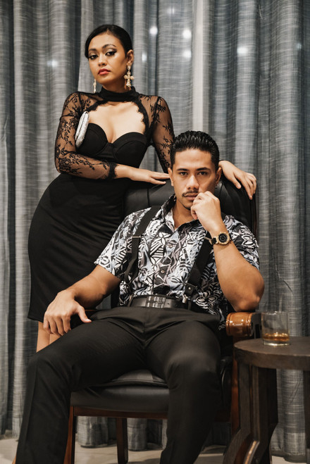 ALII Samoan Shirts MATRIX - BLACK