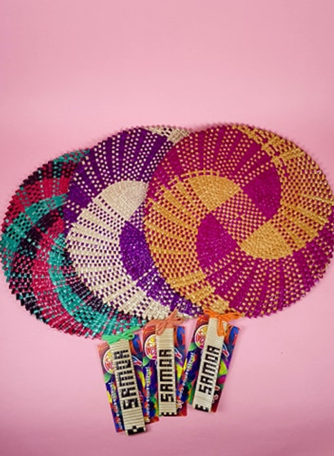 SET OF 3 FINE WEAVE SAMOAN FAN