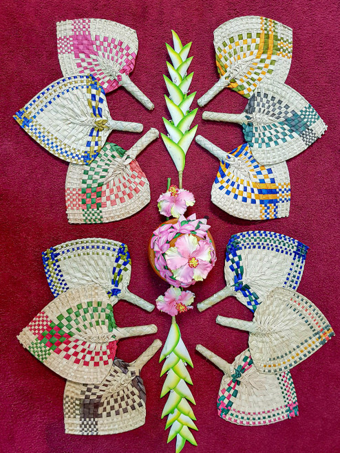 Samoan Wedding Fans EDGED SET of 12