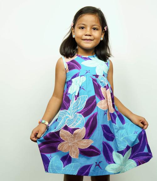 Galu Girls Plumeria Blue