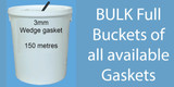 Buckets of  Gasket seals.