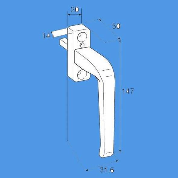Titon Derwent Offset Locking Espag Window Handle - DERE30RW