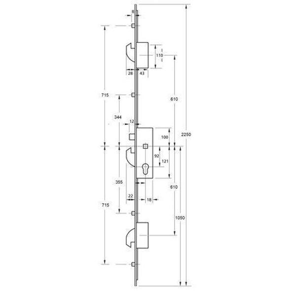 ERA Saracen Multipoint 3 Hooks and 4 Rollers Option 1 1230mm between hooks, 35mm Backset