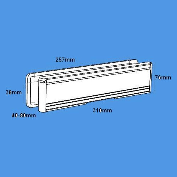 12 Nu-Mail Letterbox for UPVC Doors in Hardex Chrome