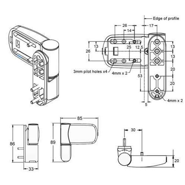Avocet Triad Mini 3D Hinge - MT3DWH