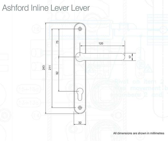 Balmoral Ashford UPVC Door Handles, 92mm centre, 211mm screws, Lever/Lever, in White