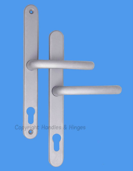 Balmoral UPVC Door Handles, 92mm centre, 211mm screws, Lever/Lever in Hardex Satin Silver