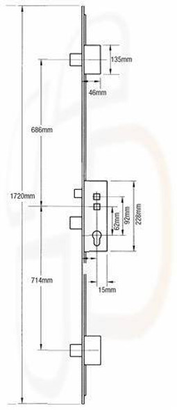 Fullex Crimebeater Multipoint 3 Deadbolts, 45mm Backset, Flat 16mm SQUARE END Faceplate