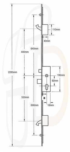 GU Europa NL Multipoint OLD Style, 2 Hooks and 2 Outboard Rollers, Split Spindle S/S 35mm backset