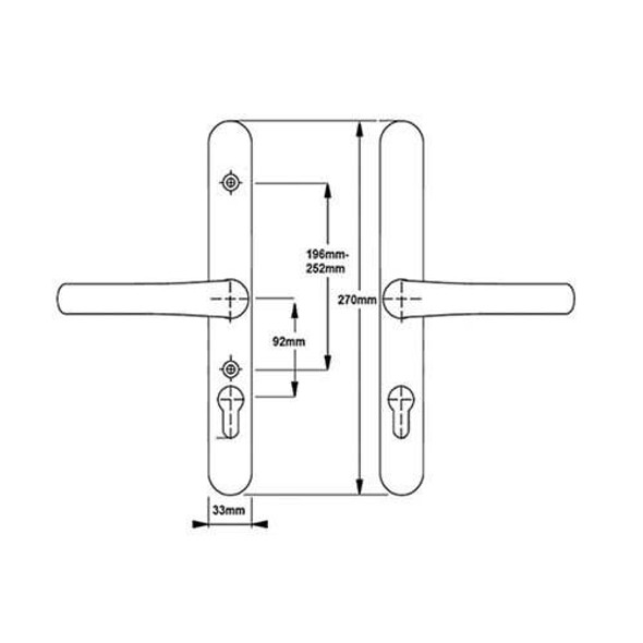 Yale Door Handles In Gold with adjustable fixing Bolts - 92mm/196mm-252mm/ 270mm in Gold