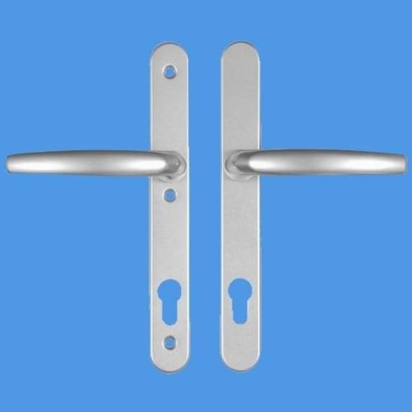 Atlanta upvc Door Handles 92mm Centre, 3 Screws, Lever/Lever in Anodised Silver