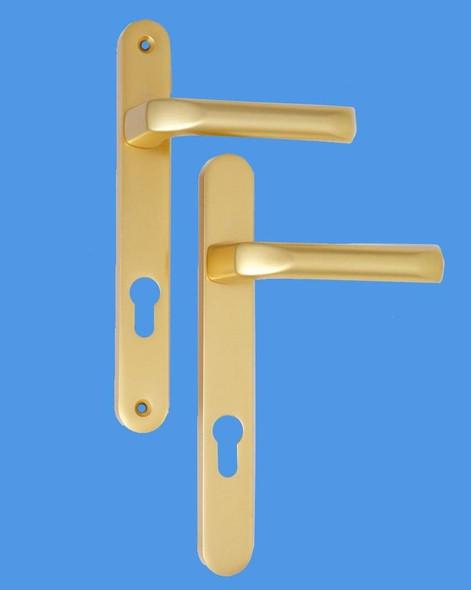 Tokyo UPVC Door Handles, 48mm centre, 160mm screws, Lever/Lever in Anodised Gold