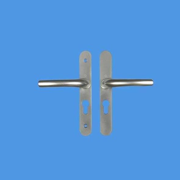 Tokyo UPVC Door Handles, 48mm centre, 160mm screws, Lever/Lever in Anodised Silver