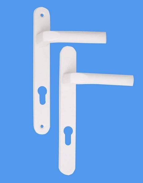 Tokyo UPVC Door Handles, 48mm centre, 160mm screws, Lever/Lever in White