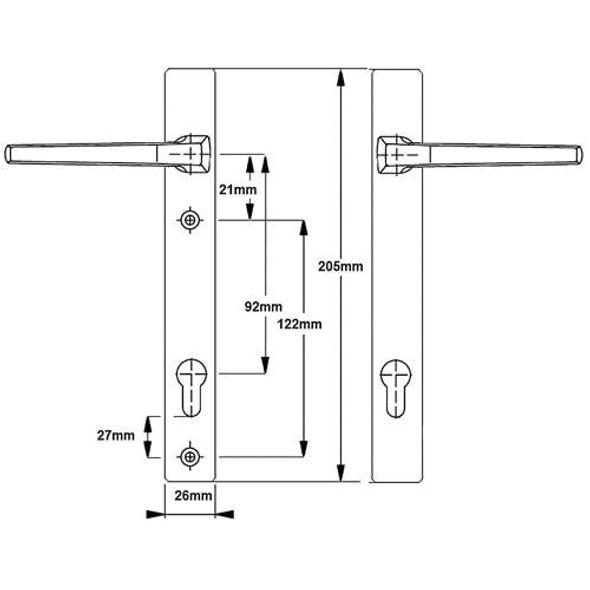 Hoppe London UPVC Door Handles - 92mm centre, 122mm screws, Lever/Lever in White
