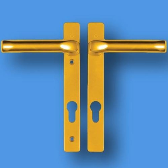 Hoppe London UPVC Door Handles - 92mm centre, 122mm screws, Lever/Lever in Anodised Gold