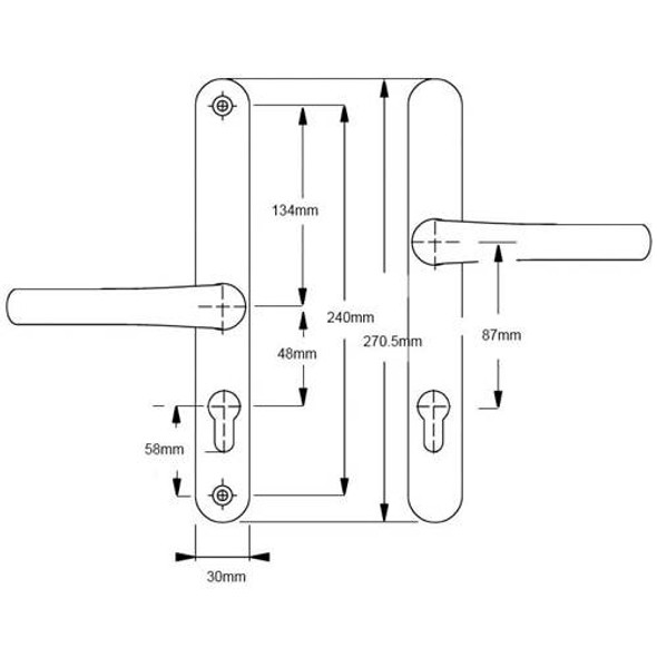 Easyfit ABT Gibbons Lever Offset Lever Door Handles 48/87mm pz/240mm screws - In White