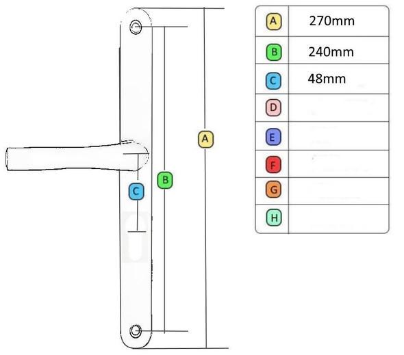 Easyfit Lever LeverCentres/PZ 48mmScrew Centres 240mm Backplate 270mm - EAS24048LLG