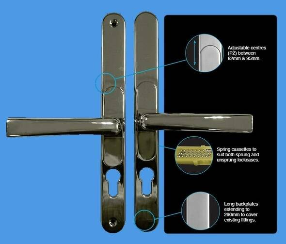 Universal Door Handles in Polished Chrome