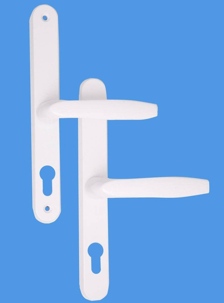 68mm UPVC Door Handles to suit Fullex system, 68mm centre, 215 screws, Lever/Lever in White