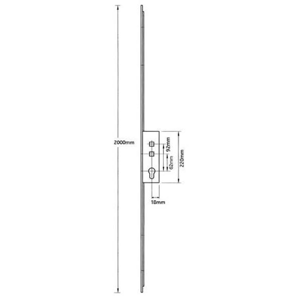 Avantis Latch, Deadbolt and 2 Hooks, 20mm faceplate with snib - AV535