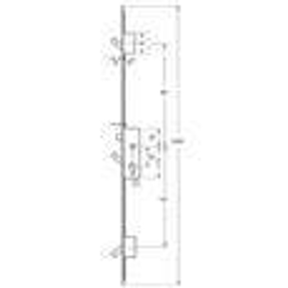 Yale YS170 Latch and 3 Hooks Long Version, Square 16mm x 2200mm faceplate - YS1353H16F