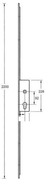 Lockmaster Multipoint Slave Lock, Sprung Single Spindle, 35mm Backset