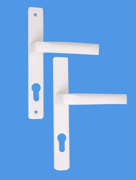 70mm UPVC Door Handles to suit Ferco system, 70mm centre, 215mm screws, Lever/Lever in White