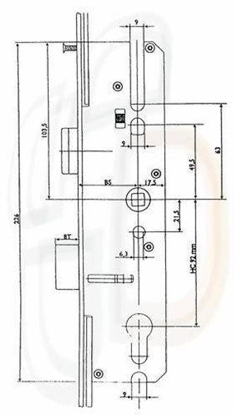 Maco Multipoint, 4 Rollers, Lift Lever L/L, 35mm Backset