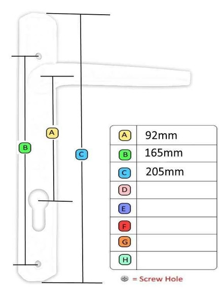 Avocet UPVC Door Handles, 92mm centres, 165mm screws, Lever/Lever in Black