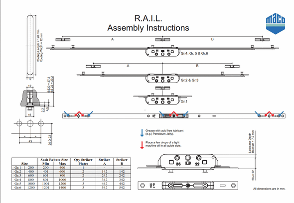 RAIL Reverse Action INLINE Window Espag by Maco - Longer Lengths