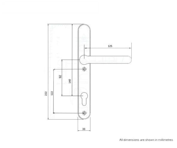 Door Handles with Concealed Screws – 92mm Centre, 122mm Screws in White